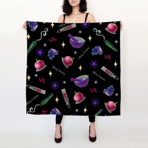 WK #ModernWitchLife Black Print Big Square Silk Scarf
