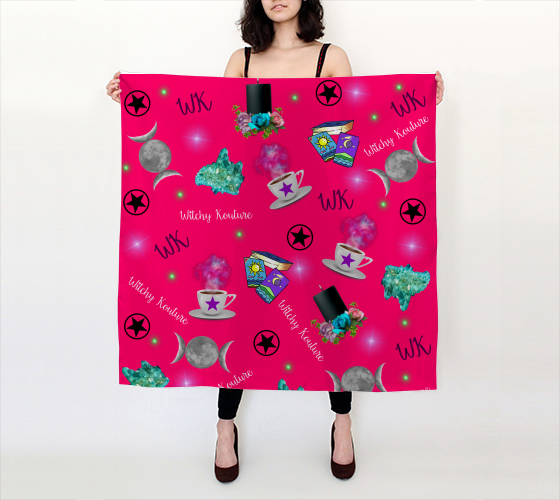 WK #ModernWitchLife Pink Print Big Square Silk Scarf