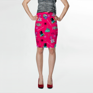 WK #ModernWitchLife Pink Print Fitted Skirt