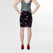 WK #ModernWitchLife Black Print Fitted Skirt