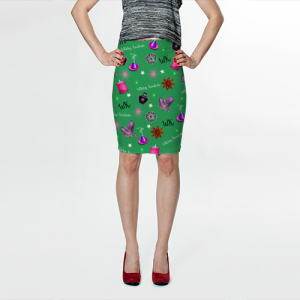 WK #ModernWitchLife Green Print Fitted Skirt