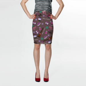 WK #ModernWitchLife Taupe Print Fitted Skirt
