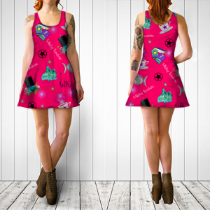 WK #ModernWitchLife Pink Print Flare Dress