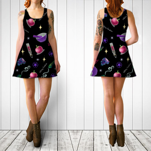 WK #ModernWitchLife Black Print Flare Dress