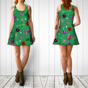 WK #ModernWitchLife Green Print Flare Dress