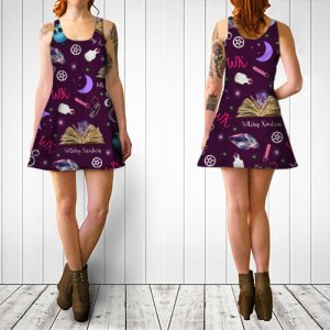 WK #ModernWitchLife Purple Print Flare Dress