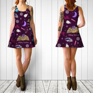 WK #ModernWitchLife Purple Print Flare Dress