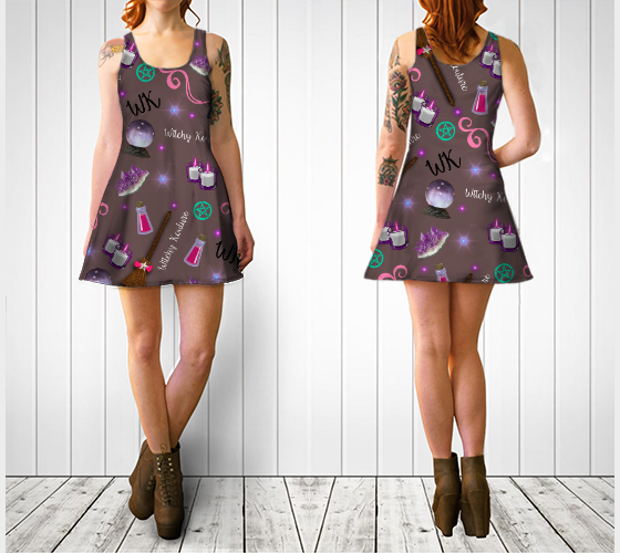 WK #ModernWitchLife Taupe Print Flare Dress