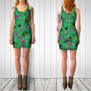 WK #ModernWitchLife Green Print Bodycon Dress