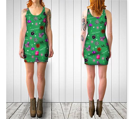 WK #ModernWitchLife Green Print Bodycon Dress