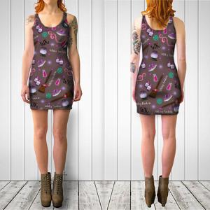 WK #ModernWitchLife Taupe Print Bodycon Dress