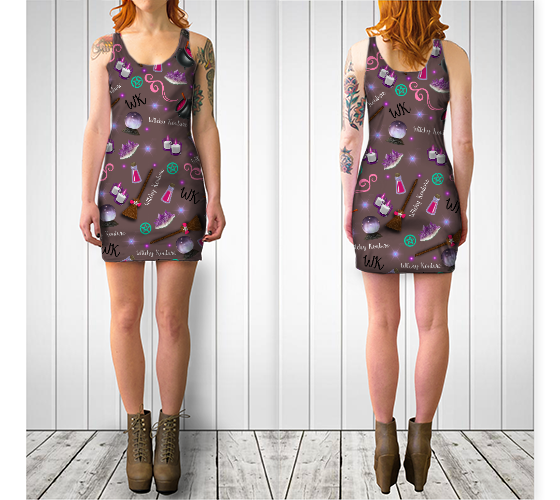 WK #ModernWitchLife Taupe Print Bodycon Dress