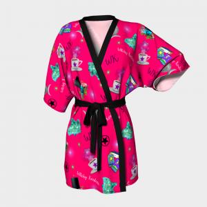 WK #ModernWitchLife Pink Print Kimono Robe